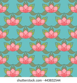 Oriental pattern of stylized pink lotus flowers and curved leaves on light blue background. Vector seamless repeat.
