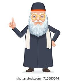 Oriental sage priest mage rabbi beard old mystery wise man secret knowledge kabbalah traditional costume cartoon design character vector illustration