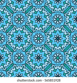 Oriental seamless ornamental pattern. Vector turquoise background. Template for carpet, mosaic, flooring, tile, textile.