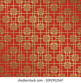 Oriental seamless pattern. Asian traditional geometric floral ornament with chinese tracery japanese.
