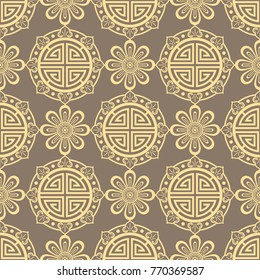 Oriental seamless pattern - korean, japanese or chinese traditional ornament. Background vector illustration