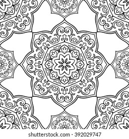 Oriental seamless pattern of mandalas. Vector black and white background.