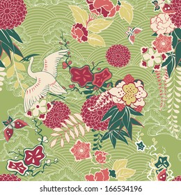 Oriental silk pattern with crane and flowers vector illustration