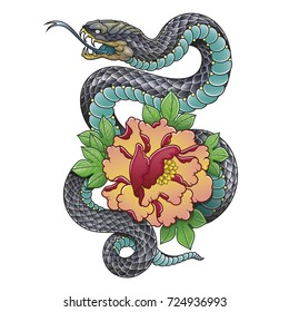 oriental snake and peony flower