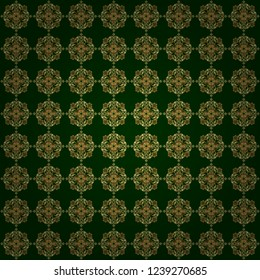 Oriental style arabesques on a green backdrop. Vector brilliant lace, stylized flowers, paisley. Openwork weaving delicate, golden background. Seamless pattern of golden textured curls.