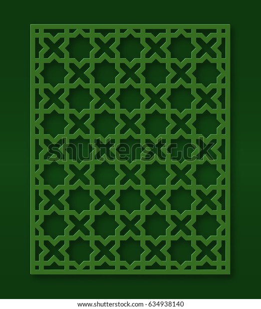 Oriental style cutout panel for laser cutting. Green color. Simple geometric ornament.