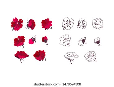 Oriental style flower set. Red blossoms, plum, contour. Plant concept. Isolated vector illustrations for topics like blooming, spring, decoration
