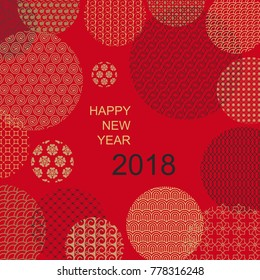 Oriental style, Happy New year 2018 card on red with clipping mask. Chinese, japanese golden flowers,waves patterns, vector template for design poster,web,card