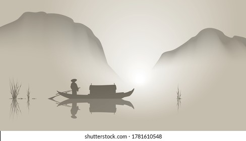 Oriental style landscape, boat and mountains. Vector illustration.
