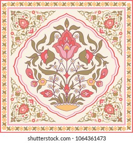 Oriental style ornate floral design