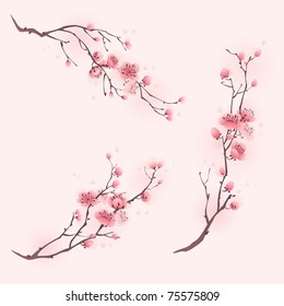 фотообои Oriental style painting, cherry blossom in spring, three different compositions.
