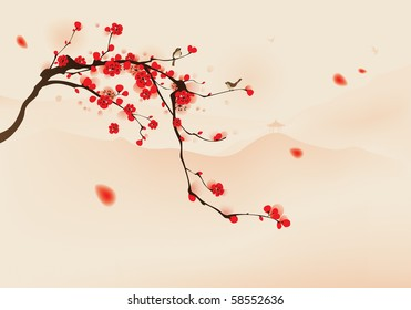 oriental style painting, plum blossom in spring.   Birds resting on the branches of plum blossom tree with hills background. Vectorized brush painting.