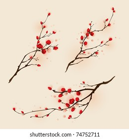 Oriental style painting, plum blossom in spring