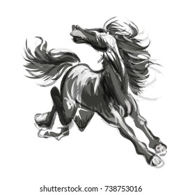 Oriental style painting of a running horse, Traditional water colour /  ink and wash vector illustration