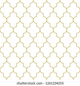 Oriental style quatrefoil ornament. Seamless vector pattern in gold