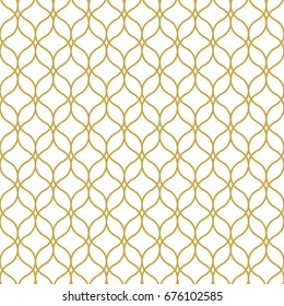 Oriental style seamless geometric vector pattern in gold