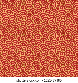 Oriental style seamless pattern of yellow waves on red background decorative backdrop origami paper, textile, wrapper or scrapbook page