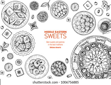 Oriental sweets vector illustration. Middle eastern food, hand drawn sketch. Linear graphic. Food menu background.