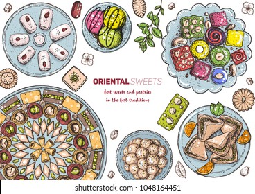Oriental sweets vector illustration. Middle eastern food, hand drawn. Linear graphic. Food menu background. Colorful vector illustration. EPS10