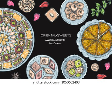 Oriental sweets vector illustration, top view. Middle eastern food, hand drawn. Colorful design template. Food menu background.