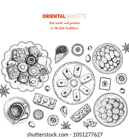 Oriental sweets vector illustration, top view. Middle eastern food, hand drawn sketch. Linear graphic. Food menu background. Engraved style design template.