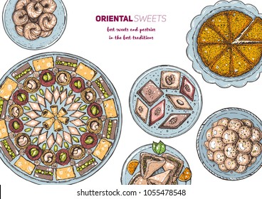Oriental sweets vector illustration, top view. Middle eastern food, hand drawn. Food menu background. Colorful design template. EPS10