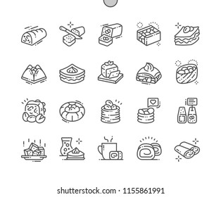 Oriental sweets Well-crafted Pixel Perfect Vector Thin Line Icons 30 2x Grid for Web Graphics and Apps. Simple Minimal Pictogram