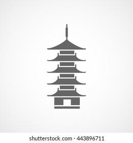 Oriental Temple Flat Icon On White Background