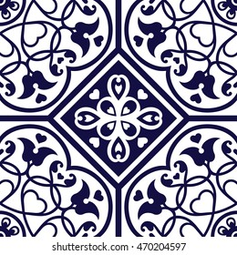 Oriental traditional floral ornament, Moroccan seamless pattern, Maghreb tile design, vector illustration