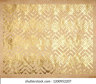 Oriental traditional geometric pattern with real golden paint metallic foil decorative backdrop origami paper vintage old texture gold ink or glitter foil background and template for cards.