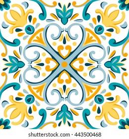 Oriental traditional ornament, Mediterranean seamless pattern, tile design, vector illustration. Yellow, blue, white background.