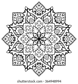 Oriental vector black and white mandala. Round design element for carpets, shawls and any surface. Template for ornament. Filigree circle pattern.