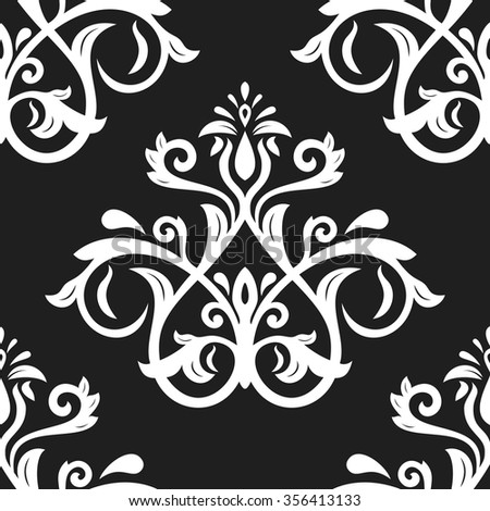 Oriental vector classic black and white pattern. Seamless abstract background