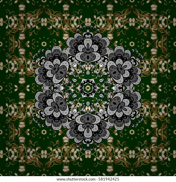 Oriental vector classic green and golden pattern with white doodles. Seamless abstract background.