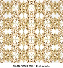 Oriental vector classic pattern. Abstract seamless pattern with golden repeating elements on white background. Vintage white and golden pattern.