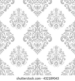 Oriental vector classic pattern. Seamless abstract background with repeating elements. Light silver pattern