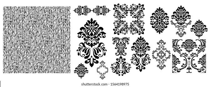 Oriental vector damask patterns for greeting cards and wedding invitations.