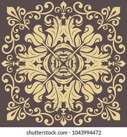 Oriental vector pattern with arabesques and floral elements. Traditional classic ornament. Vintage brown and golden pattern with arabesques