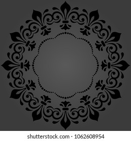 Oriental vector pattern with arabesques and floral elements. Traditional round black classic ornament. Vintage pattern with arabesques
