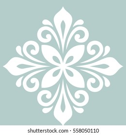 Oriental vector pattern with arabesques and floral elements. Traditional classic ornament with white rhombus. Vintage pattern with arabesques.