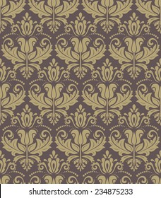 Oriental vector pattern with damask, arabesque and floral golden elements. Seamless abstract background
