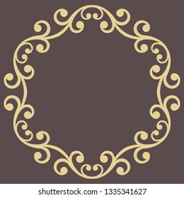 Oriental vector round frame with arabesques and floral elements. Floral golden border with vintage pattern. Greeting card with place for text