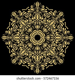 Oriental vector round golden pattern with arabesques and floral elements. Traditional classic ornament. Vintage pattern with arabesques.