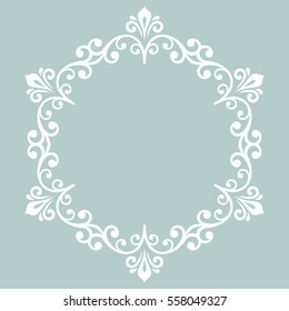 Oriental vector white round pattern with arabesques and floral elements. Traditional classic ornament. Vintage pattern with arabesques.