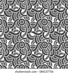 Oriental waves. Graphic ornament. Vector seamless pattern with abstract scale.