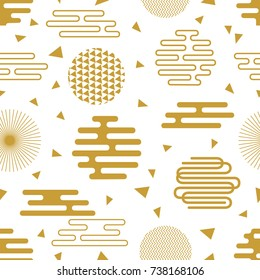 Oriental white and golden festive pattern. Seamless vector background with Japanese, Chinese, Korean motifs. Modern composition with ornate circles and different geometric shapes.