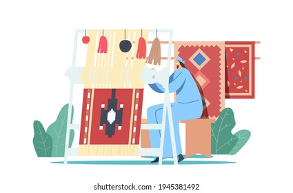 Oriental Woman Weaver Character in Traditional Clothes Working on Handloom Making Carpet with National Ornament for Selling on Market or Decorating Home Interior. Cartoon People Vector Illustration