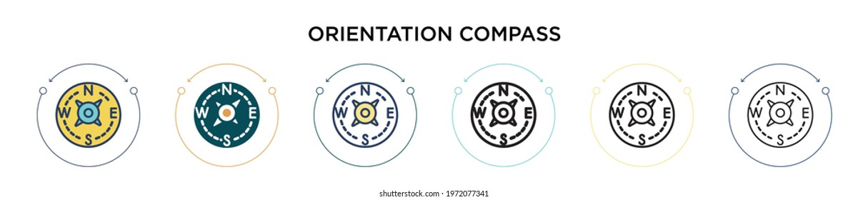 Orientation compass icon in filled, thin line, outline and stroke style. Vector illustration of two colored and black orientation compass vector icons designs can be used for mobile, ui, web