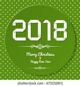 Origami 2018 symbol on green background with polka dots
