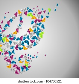 Origami  abstract background. Paper butterfly in the sky.